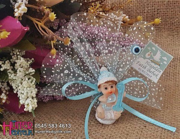 1 Yaş Bebek Şekeri Mavi Biblo