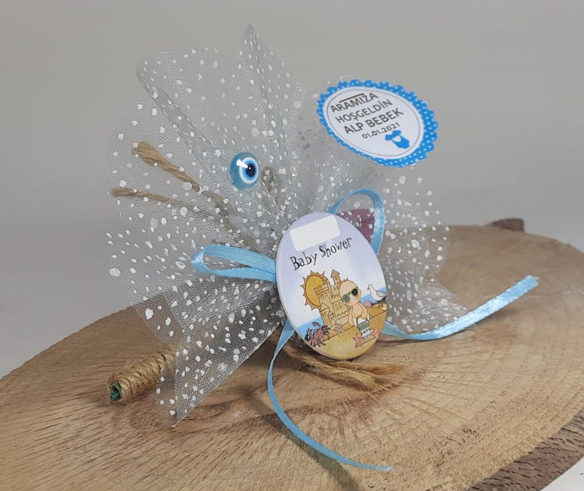 Baby Shower Yazılı Erkek Bebek Magneti Mavi