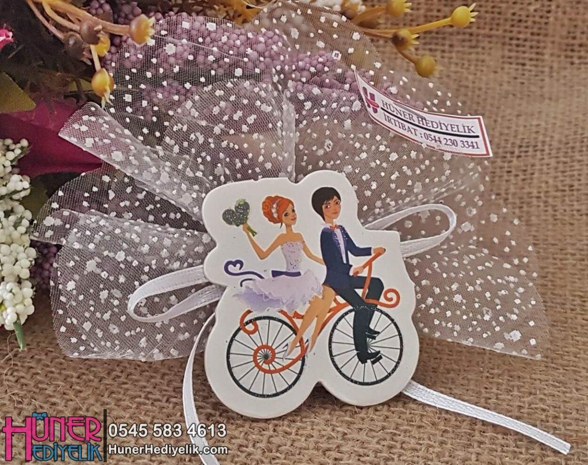 Bisikletli Gelin Damat Nikah Şekeri Yeni