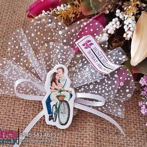 Çiçekli Bisiklette Gelin Damat Nikah Magneti