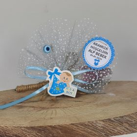 Mavi Bohçalı Ucuz Bebek Magneti
