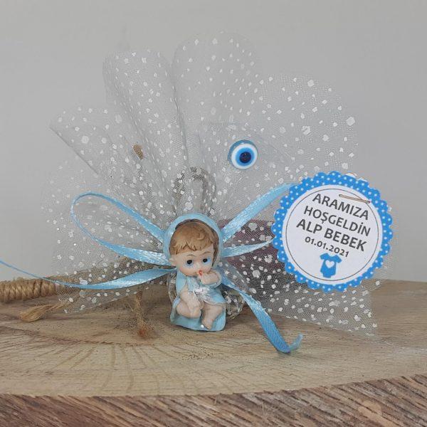 Yastıklı Mavi Erkek Bebek Şekeri
