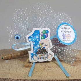 1 Yaş Doğum Günü Magneti Pastalı Mavi