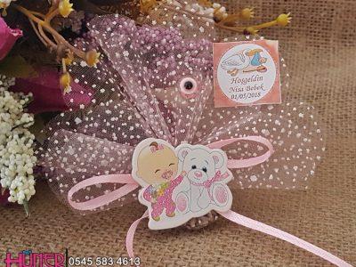 Ayıcıklı Bebek Ayakta Pembe - Ucuz Bebek Şekerleri