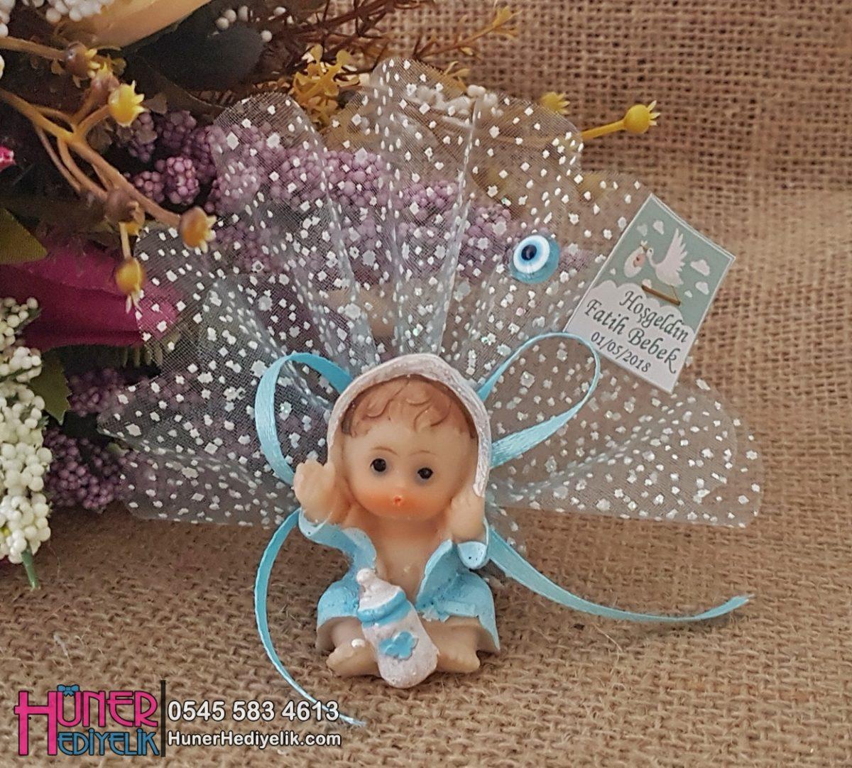 Bornozlu Oturan Bebek Biblolu Bebek Hediyeliği