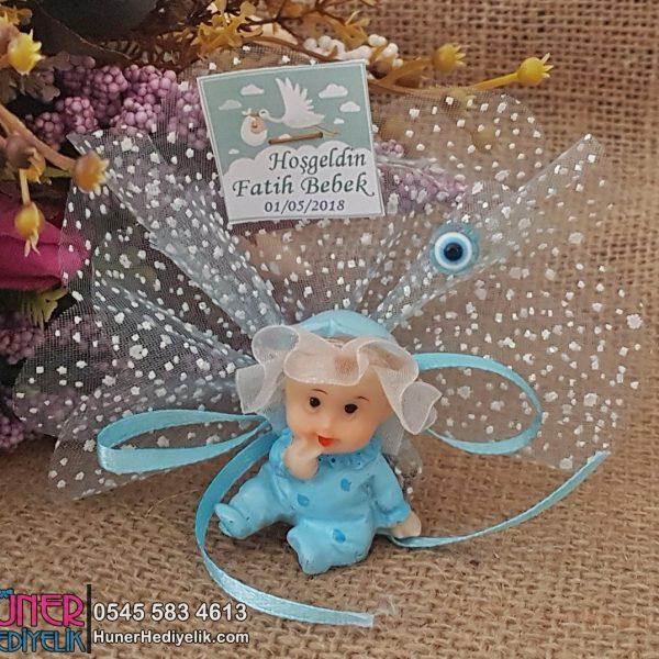 Kafası Tüllü Mavi Bebek Hediyeliği