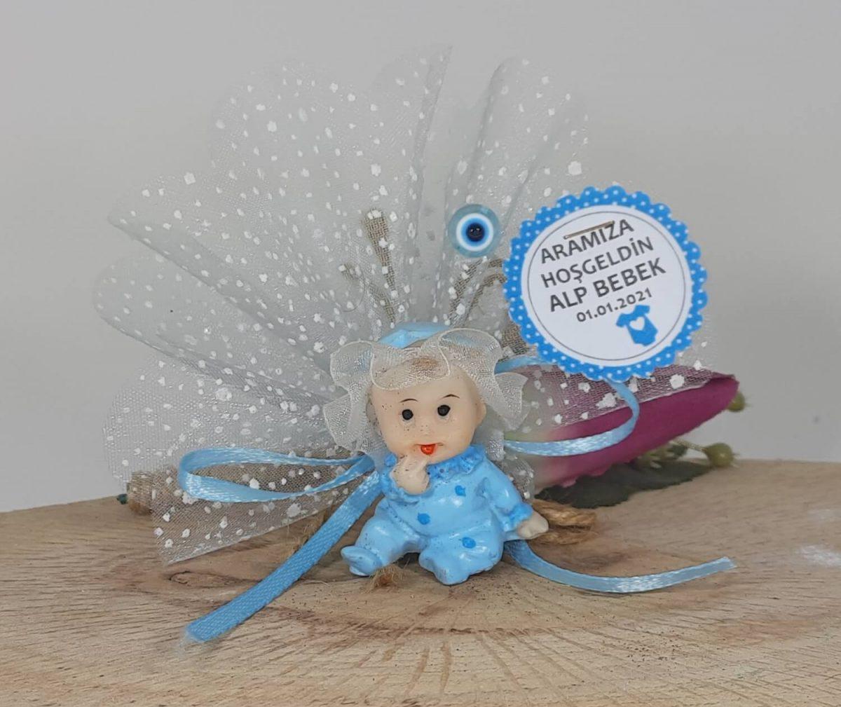 Kafası Tüllü Mavi Bebek - Bebek Dolap Süsü