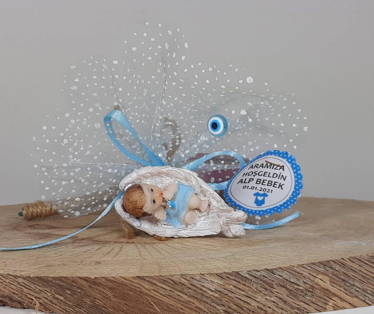 Kanat İçinde Duran Bebek Biblolu Erkek Bebek Hediyelikleri