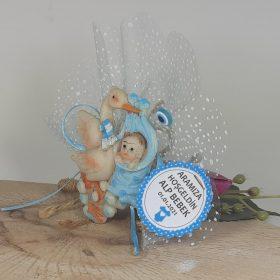 Leylekli Bebek Şekeri Mavi