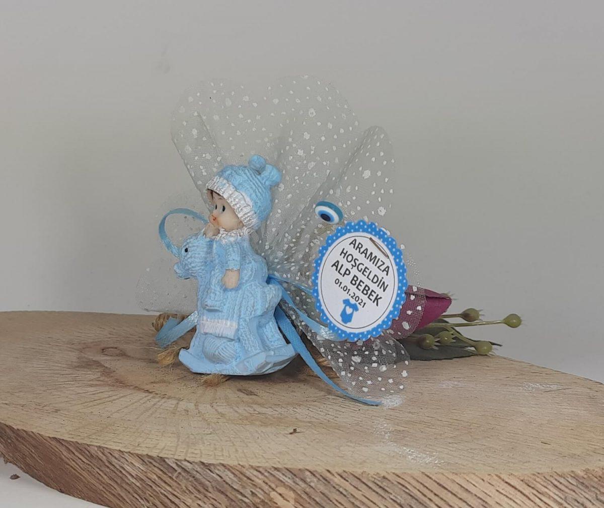 Mavi Atın Üstünde Bebek Şekeri Biblolu