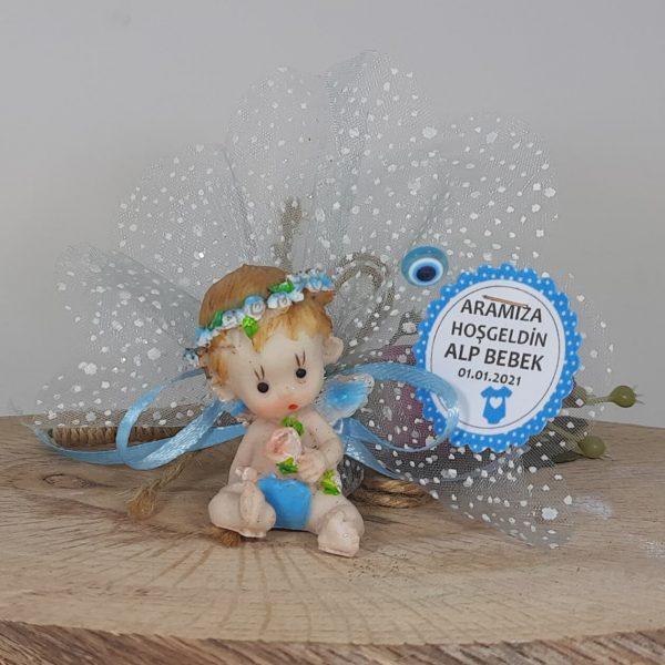 Mavi Bebek Melek Görünümlü Bebek Hediyelikleri