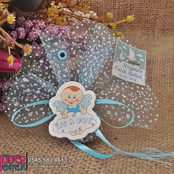 Melek Kanatlı Bulutlu Mavi Bebek Şekeri