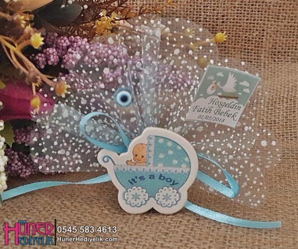 Sticker Pusetli Mavi Bebek Şekeri