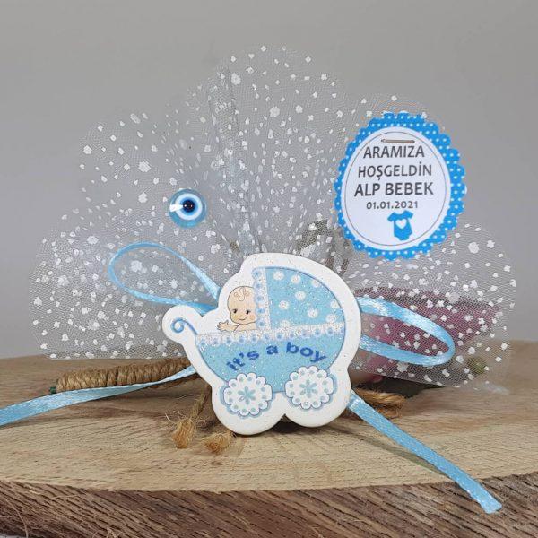 Sticker Pusetli Mavi Ucuz Bebek Şekeri