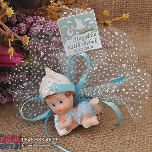 Yastıklı Ve Biberonlu Bebek Şekeri Mavi