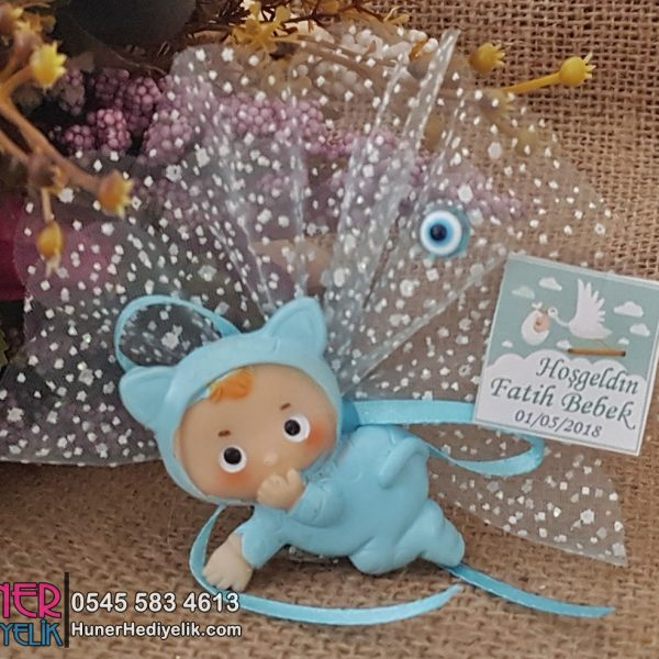 Kedi Kostümlü Mavi Bebek Magneti Biblolu Model