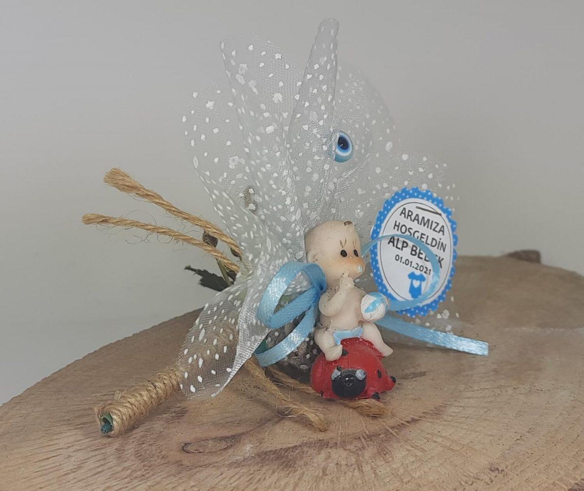 Uğur Böcekli Erkek Bebek Şekeri Biblodan