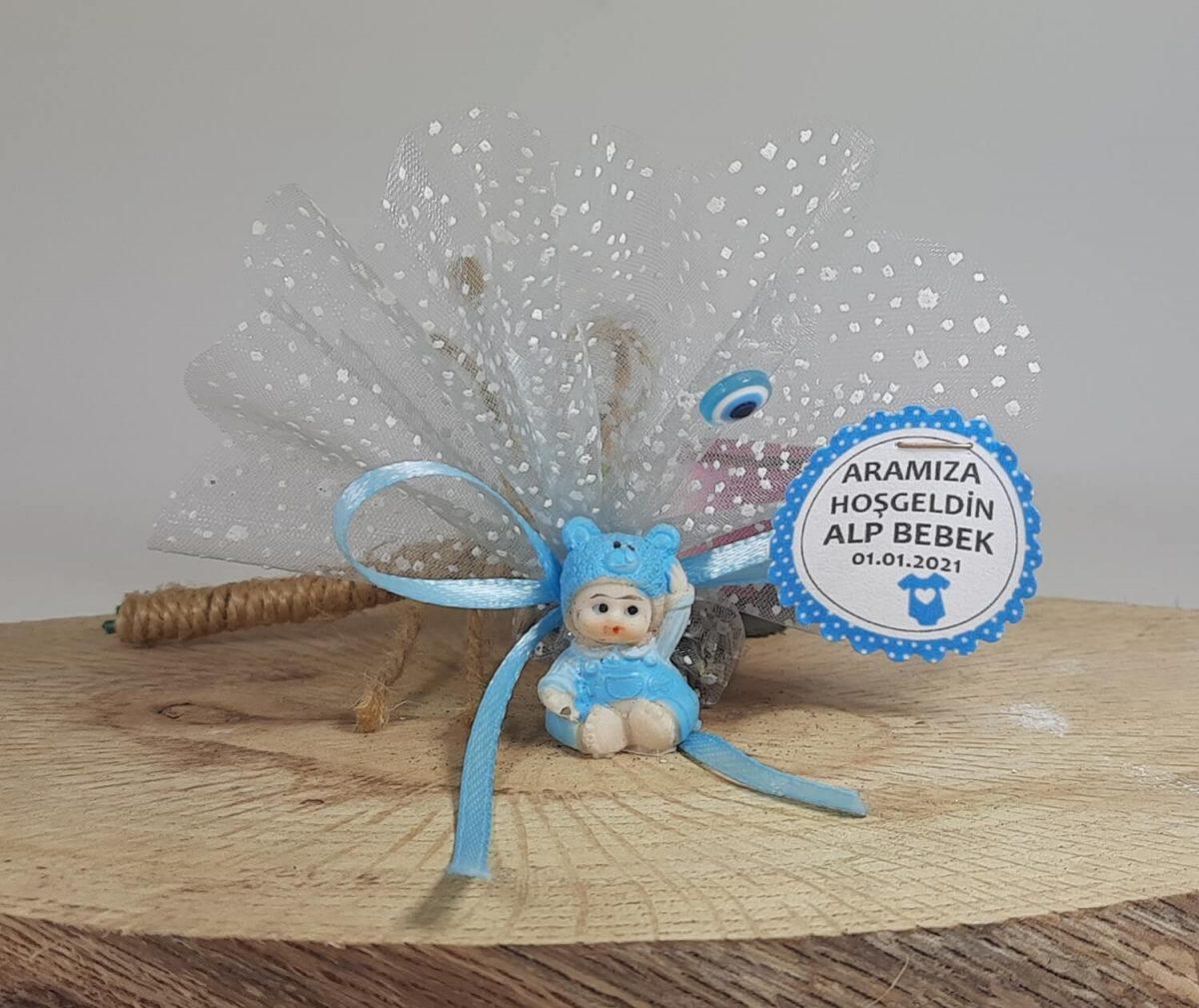 Ayıcık Şapkalı Yenidoğan Erkek Bebek Şekeri