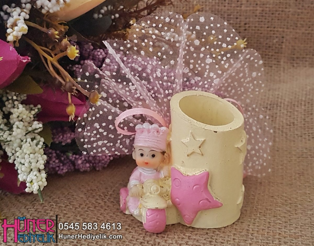 Kalemlik Pembe Kız Bebek Şekeri