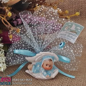 Kanat İçerisinde Erkek Bebek Şekeri Mavi Renkli