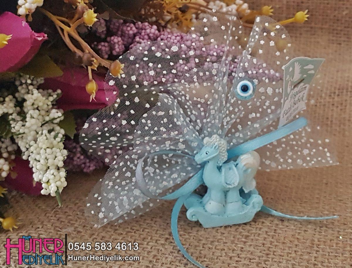 Mavi At Biblolu Erkek Bebek Şekeri