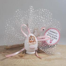 Yumurta İçinde Duran Pembe Bebek Magneti