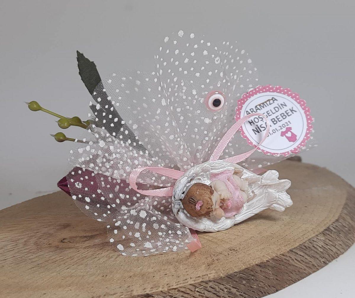 Kanat İçinde Bebek Biblolu Bebek Şekeri