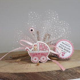 Pembe Pusetli Kız Bebek Şekeri