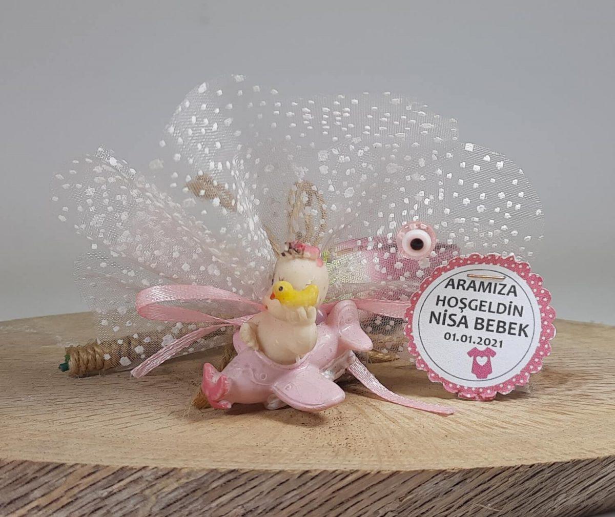 Uçaklı Pembe Kız Bebek Şekeri Modeli
