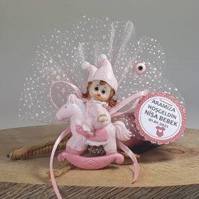 Atlı Ve Şapkalı Bebek Şekeri Pembe Biblodan