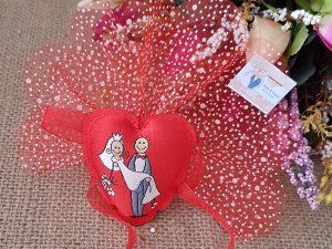 Kalp Şeklinde Yastıklı Nikah Hediyeliği
