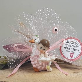 Leyleğin Üstünde Uçan Bebek Şekeri Biblo Modeli
