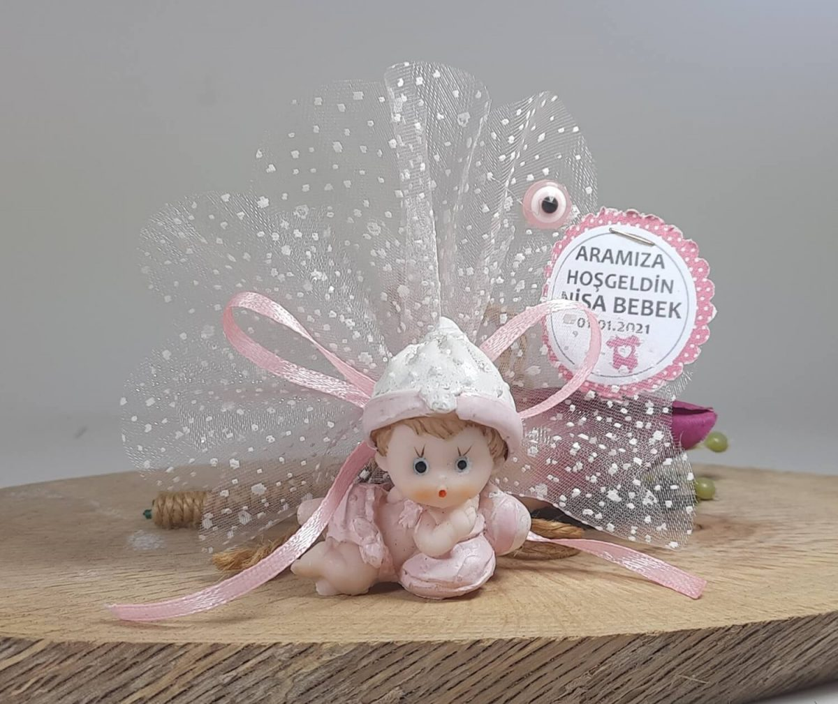Yastıklı Ve Toplu Bebek Şekeri Biblolu Pembe Renklerde
