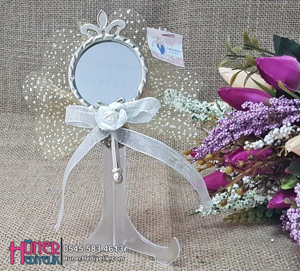Kelebek Ve Taçlı Gümüş Aynalı Düğün Hediyelikleri