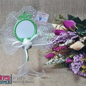 Kelebek Ve Taçlı Yeşil Aynalı Nikah Hediyeliği