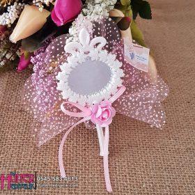 Kenarı Çiçek Desenli Beyaz Aynalı Nikah Şekeri