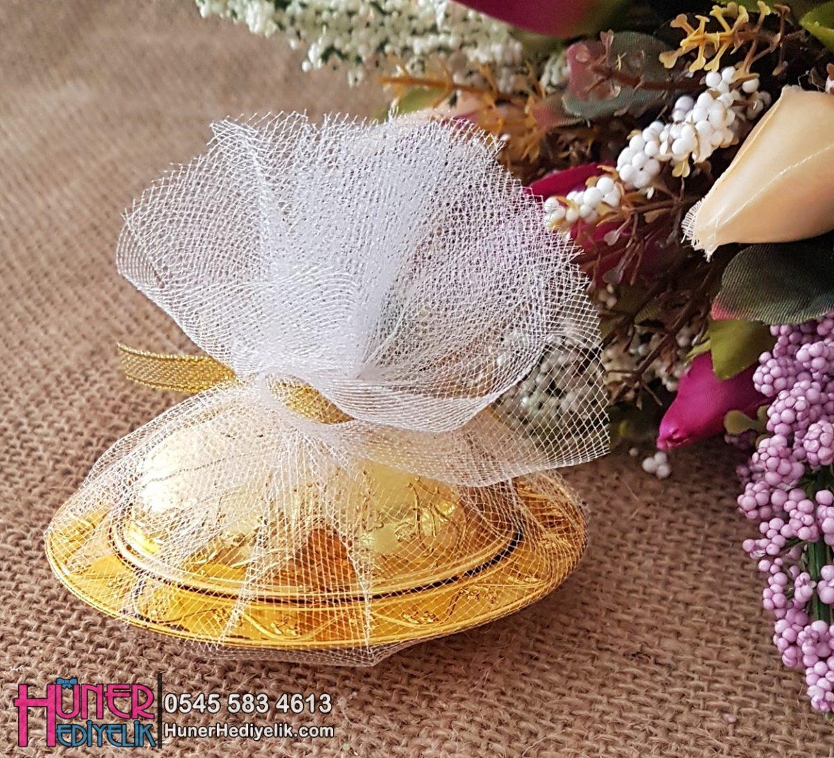 Altın Renkli Plastik Lokumluk Nikah Şekeri