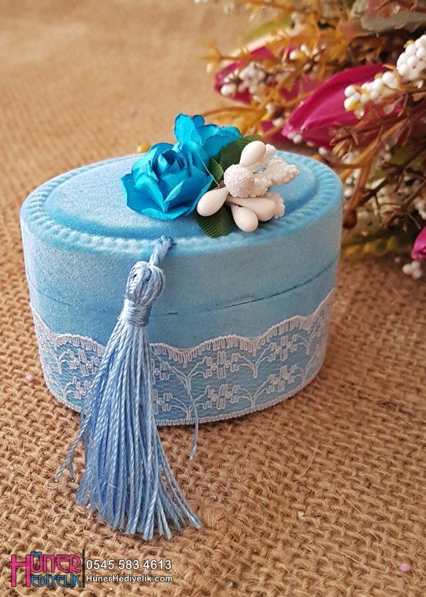 Kutu Oval Flok Kaplama Mavi Erkek Bebek Hediyeliği