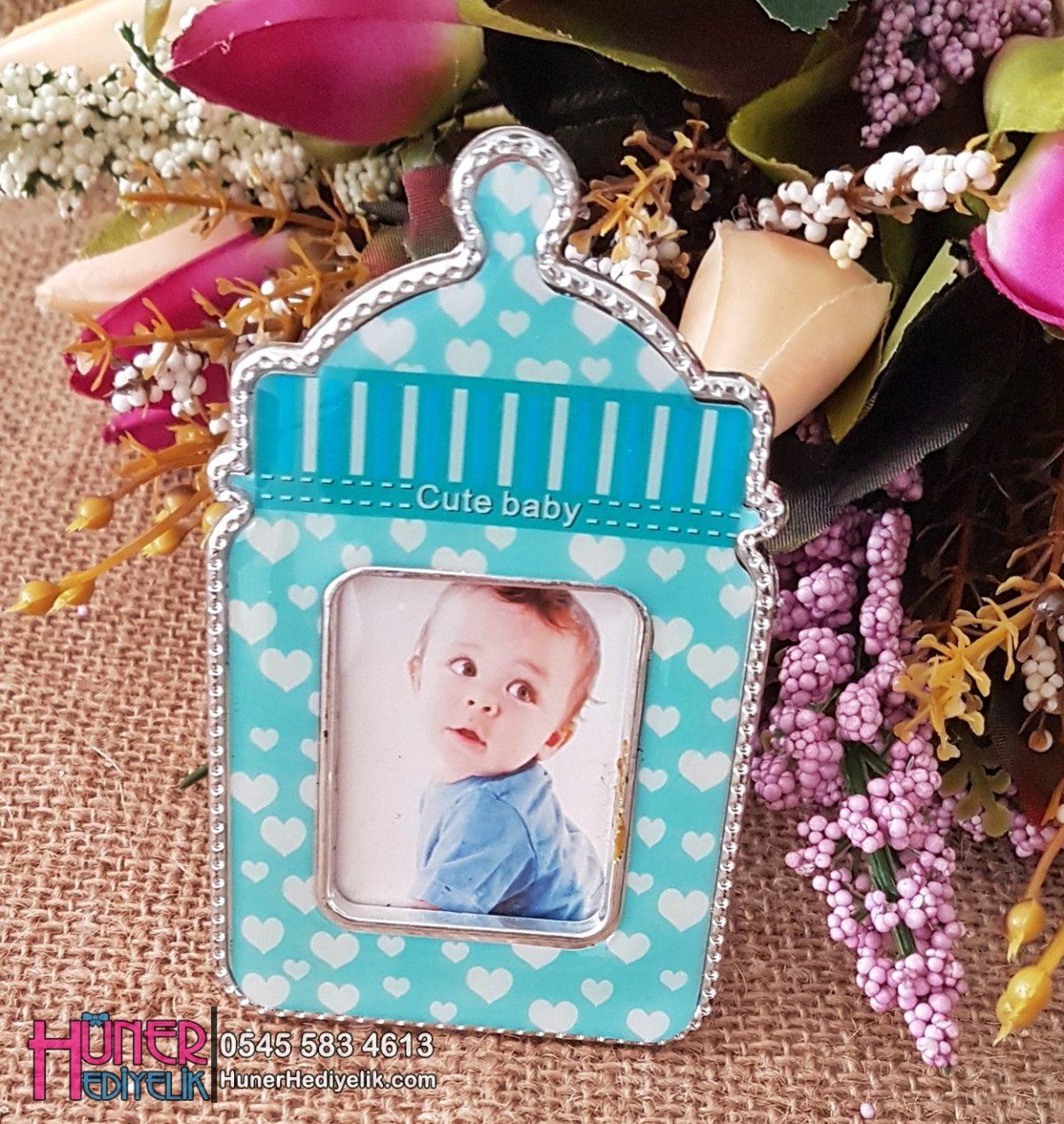 Biberon Şeklinde Çerçeveli Erkek Bebek Magneti