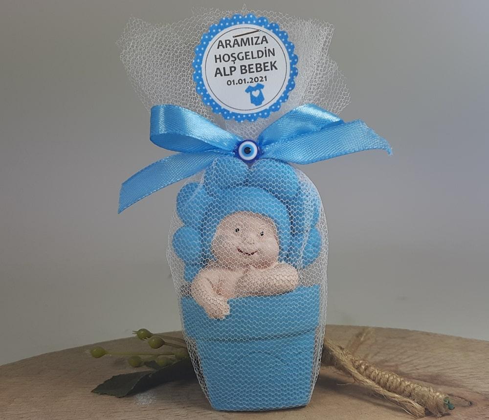 Mavi Papatya Erkek Kokulu Taş Bebek Magneti